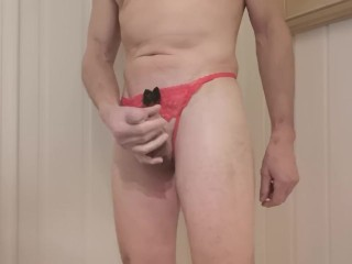 Male Displaying Sexy Female Thongs And Strings